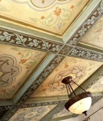 Tradionally painted work on ceiling