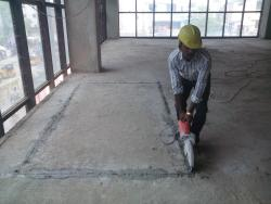 Residential concrete slab cutting work