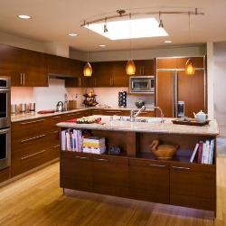 Contemporary Kitchen with Lights and Skylight