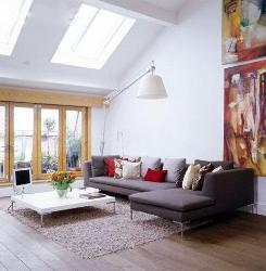 Living room with large Skylights