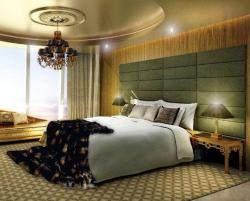 bedroom with rugs and side table