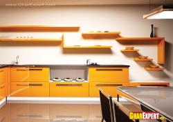 Kitchen shelves and cabinets in yellow