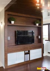 Wooden Lcd unit with decorative shelf