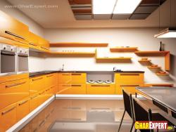 Yellow cabinets with shelves and dining table in kitchen