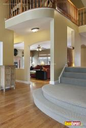 carpeted Foyer Stairs and wooden floor in foyer