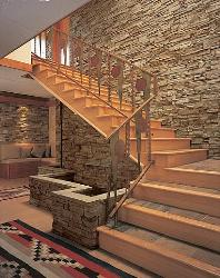 Staircase with Stone Wall