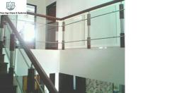 Wood and Glass Railing with steel support
