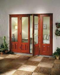 Interior glass door and wooden bottom door design