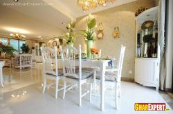 White colored wooden 6 seater dining