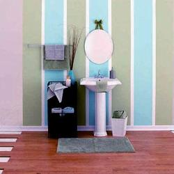 Colorful vertical paint stripes  pattern in bathroom