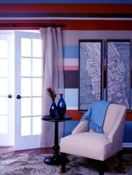Colorful horizontal paint stripes  pattern in room