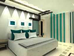 Modern Interior design for Bedroom including Ceiling, flooring and Furnishing.