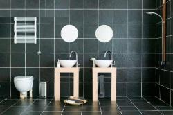 Black colored bathroom shower tiles design