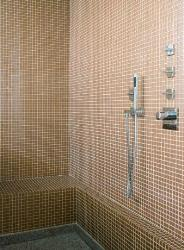 Bathroom shower tiles in brown color pattern