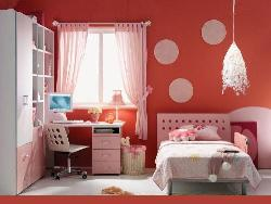 Pink colored study unit for kids room design