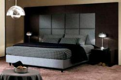 platform bed with large headboard