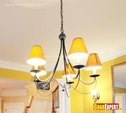 Modern wrought iron chandelier with 5 lamps shades