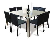 Dining Table made up of metal and glass