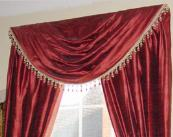 Red swag curtain
