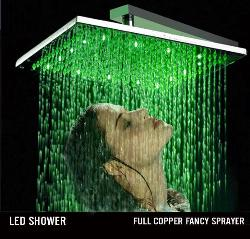 "16"" Stainless Steel Square Rainfall Led Shower Head"