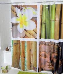 Eastern Bamboo Joss Fabric Shower Curtain