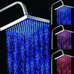 "8"" Color Changing LED Square Bathroom Shower Head"
