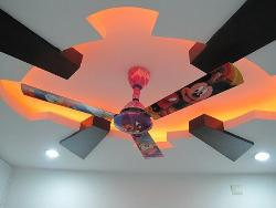 POP and Wooden ceiling design with LED lights and ceiling fan