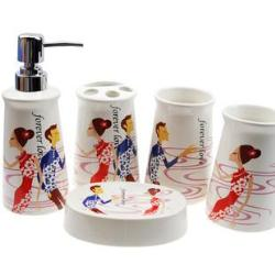 Korean Style Ceramic Bathroom Accessory Set