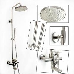Luxury bathroom brushed nickel rainfall shower faucet set