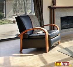 Wooden arm upholstered with leather chair for living room