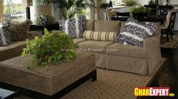 Upholstered sofa and jute top center table for living room