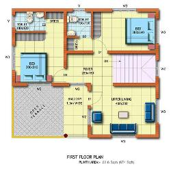 2BHK floor plan for first floor