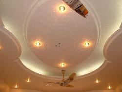 POP ceiling design with LED lights and Ceiling fan