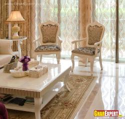Carved wooden silk fabric chairs for living room