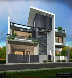 Row house exterior 3d visualization