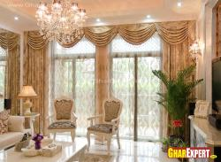 Swag and jabot clasical style curtain in rich fabric