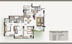 1363 sq. ft. 2BHK   study floor plan