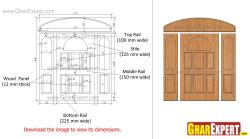 Wooden door with sideligths and transom for entrance