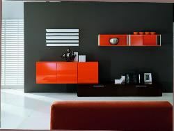 grey and orange combination looks good on wall