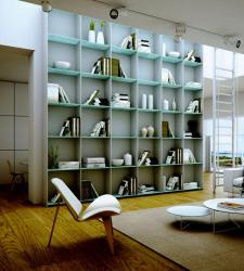 Modern Study room in white with book shelf