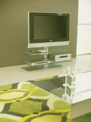Double shelf of glass with steel stand for LCD TV