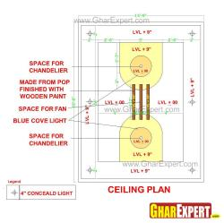 POP false ceiling design for 15 ft by 20 ft room accommodating chandeliers and fan