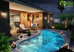 3D Residential Exterior Night View Architectural Animation