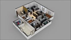 3D Commercial Office Floor Plan Design