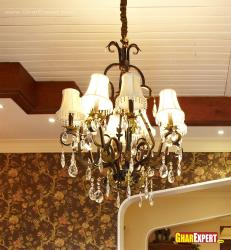 6 Lamp shades in wrought iron chandelier with crystal stones