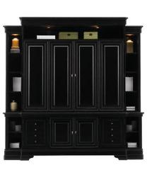 full wall wooden entertainment unit in black color for living room