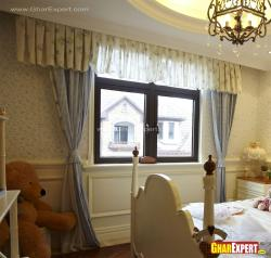 Dark Brown window frame and curtain style