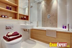 bath tub in wooden texture on exterior in small bathroom
