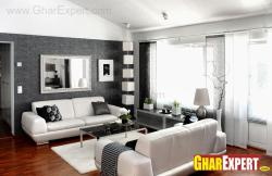 Living room in grey tone and wooden flooring