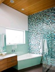Bathroom Wall Tiles and Wooden Ceiling